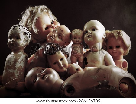 Creepy dolls - stock photo