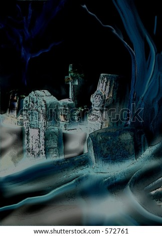 Creepy graveyard image. Heavily filtered photo of old gravestones at the base of a gnarly tree with ground fog and mist curling around. Black background. Copy space. Good for Halloween. - stock photo