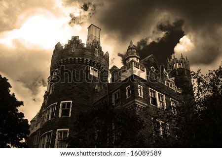 Creepy Halloween haunted mansion - stock photo