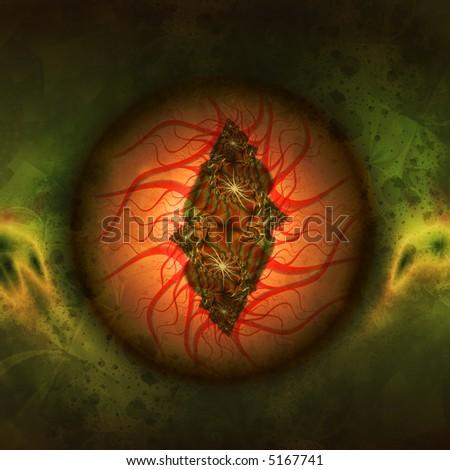 Creepy illustration of a lidless bloodshot eye, possibly a dragon eye. - stock photo
