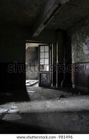 creepy room with open door - stock photo