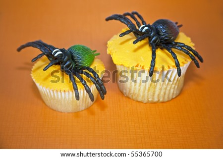 Creepy spiders on top of orange frosted cupcakes on an orange background. - stock photo
