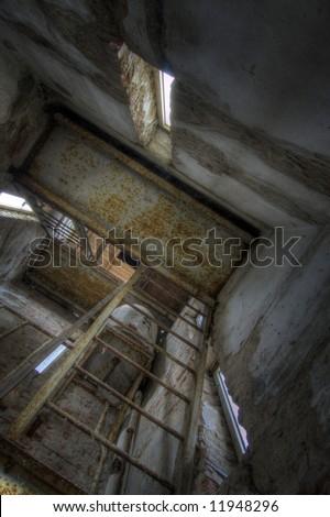 Creepy Stairway - stock photo