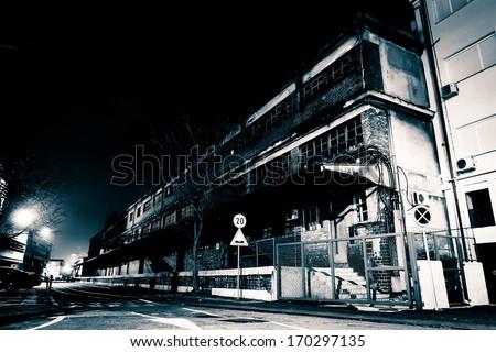 Creepy Street at Night - stock photo