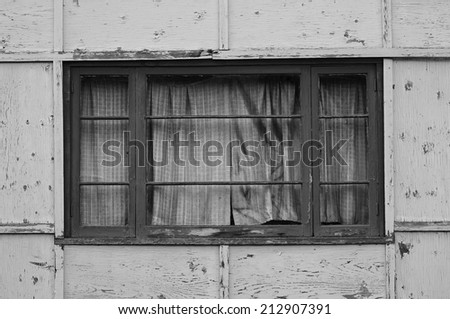 Creepy Window in an Abandoned House - stock photo