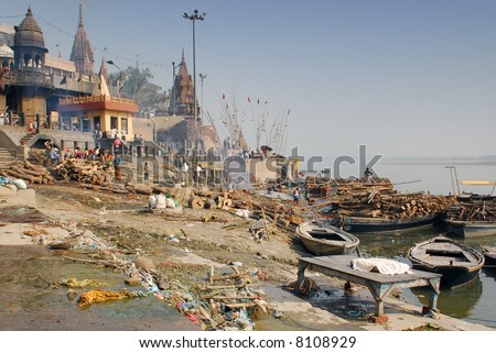 cremation ghat at the ganges in varanasi - stock photo