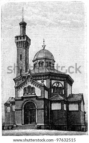 Crematorium in Hamburg - an illustration of the encyclopedia publishers Education, St. Petersburg, Russian Empire, 1896 - stock photo