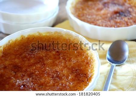 Creme Brulee caramel custard fresh and delicious  - stock photo
