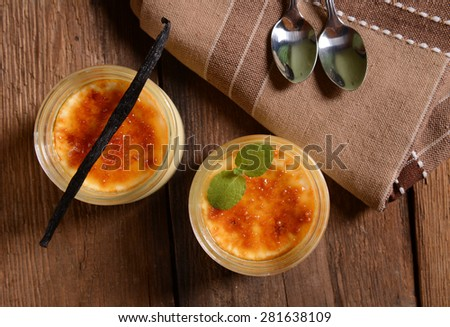 Creme brulee dessert - stock photo