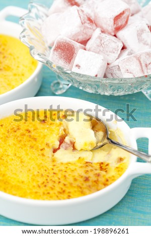 Creme brulee. Traditional French vanilla cream dessert with caramelized sugar on top.  - stock photo