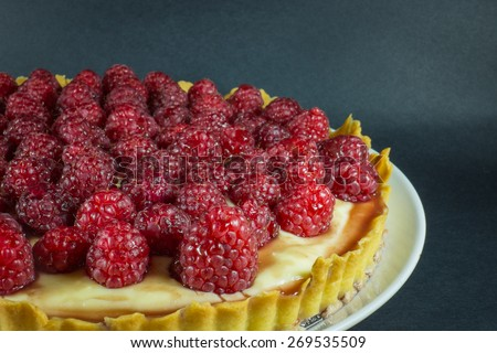 Creme Brulee with Raspberry Topping - stock photo