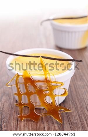 creme caramel dessert - stock photo