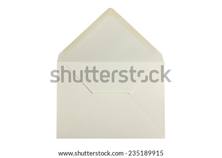 Creme white envelope open and empty - isolated on white - stock photo