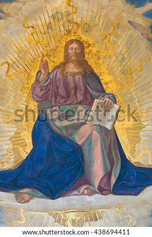 CREMONA, ITALY - MAY 24, 2016: The fresco of Redeemer in main apse in Cathedral of Assumption of the Blessed Virgin Mary by Boccaccio Boccaccino (1506).