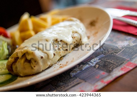 crepe with cheese - stock photo