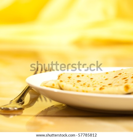 crepes on a p late - stock photo
