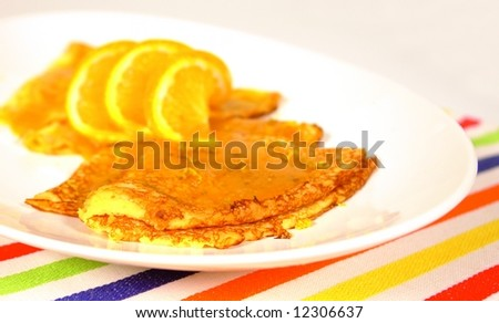 Crepes suzette with orange sauce