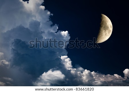 crescent and night sky - stock photo