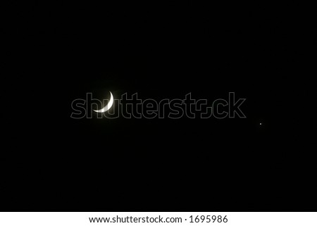 Crescent Moon and Venus - stock photo