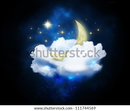 crescent moon in the clouds and stars in the night sky - stock photo