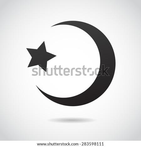 Crescent moon - islamic sign icon. - stock photo