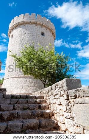 Creska Kula tower in Croatia - Cres vertical - stock photo