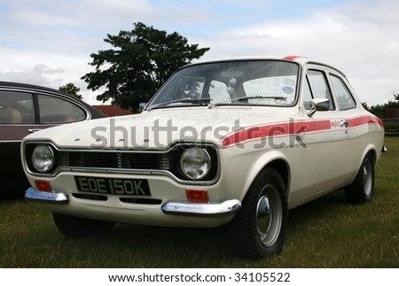 CRESSING, ESSEX, UK - JULY 19: Classic Car & Motorcycle Show, showing a 1971 Ford Escort Mexico at Cressing Temple on July 19th 2009 in Cressing, Essex, UK - stock photo