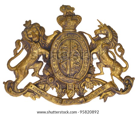 "Crest Coat of Arms, UK of Great Britain & N. Ireland, British Royal, Lion & Unicorn, French ""dieu et mon droit"" (God & my Right) ""Honi soit qui mal y pense"" (Shamed be he who thinks evil of it) 1837 - stock photo"
