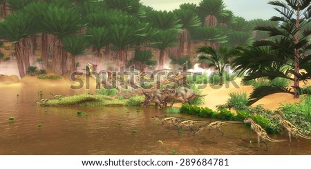 Cretaceous Dinosaur River - A serene look at a Cretaceous river with many different dinosaurs coming for a drink of water including Diabloceratops, Olorotitan and Deltadromeus. - stock photo