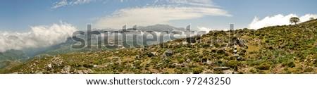 Cretan White Mountains Panorama - stock photo