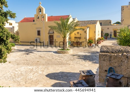 CRETE, GREECE - APRIL 21. The church and courtyard of the Monastiri Odigitrias, an old monastery from the 14 century and holy Patriarchal in the south-central of Crete on April 21, 2016 - stock photo