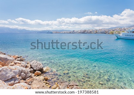Crete - Greece - Coast of Agios Nikolaos - stock photo