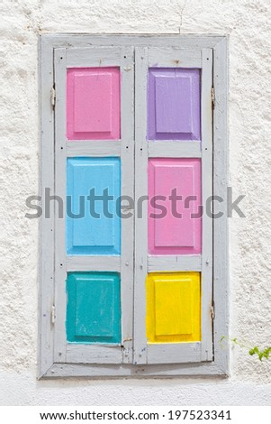 Crete - Greece - Colorful window shutters - stock photo