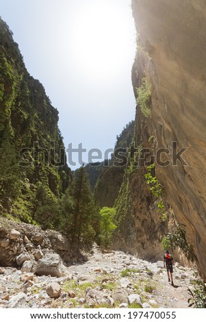Crete - Greece - Hiking through the Samaria Gorge - stock photo