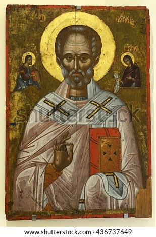 CRETE, GREECE - MAY 31, 2016: Icon Saint Nicholas, first half of the 17th century of Agia Triada Monastery. It is a Greek Orthodox monastery in the Akrotiri peninsula near the city of Chania.