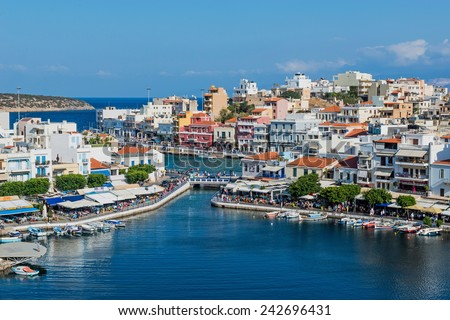 CRETE, GREECE - OCTOBER 10: gorgeous view of Agios Nikolaos town on October 10, 2014 in Crete, Greece. - stock photo