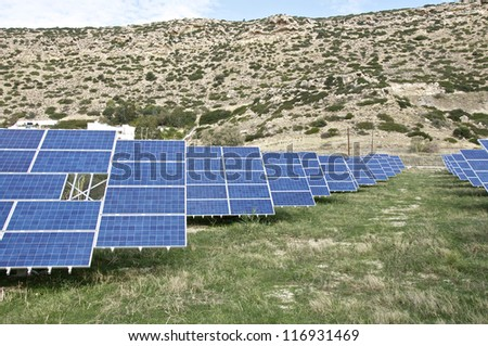 Crete, Greece. Renewable energy production. Solar cells for the production of electricity in the South of Crete - stock photo