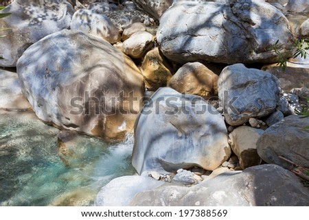 Crete - Greece - River through the Samaria Gorge - stock photo