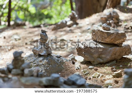 Crete - Greece - Stone Memorials within the Samaria Gorge - stock photo