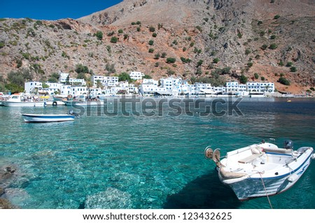 Crete, greek village of Loutro - stock photo