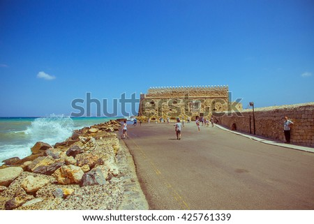 Crete Heraklion August 25: Venetian fortress Koules on August 25, 2015 in Heraklion. City is with 175.000 inhabitants capital on Crete.