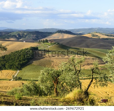 Crete senesi characteristic landscape in province of Siena (Tuscany, Italy) at summer. - stock photo