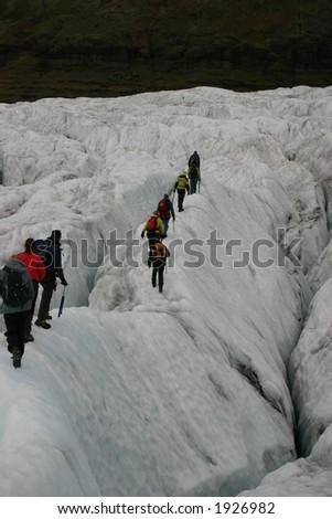 Crevasse Trek, Iceland - stock photo