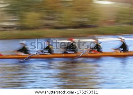 Crew rowing team, Charles River, Boston, MA - stock photo