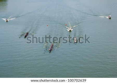 Crew Teams in Competition - stock photo