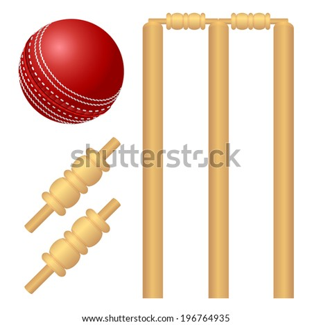 Cricket ball and stump isolated on white. - stock photo