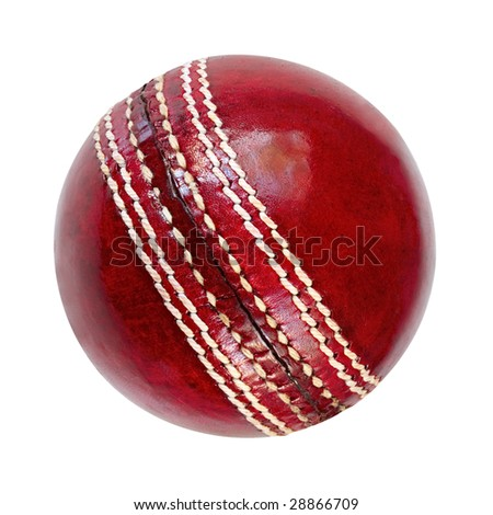 Cricket ball, isolated on white.  Classic red leather. - stock photo