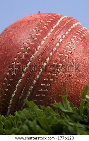 cricket ball on grass and a blue sky - stock photo