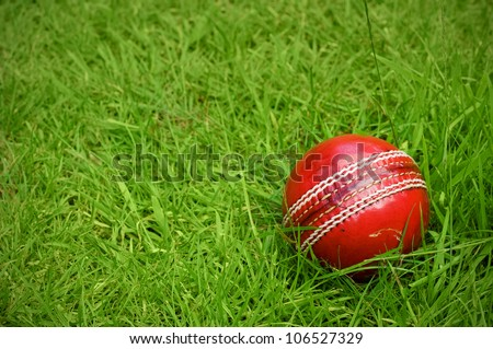cricket ball on green grass pitch with copy space - stock photo