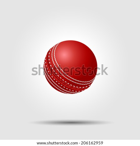 Cricket ball on white background with shadow - stock photo